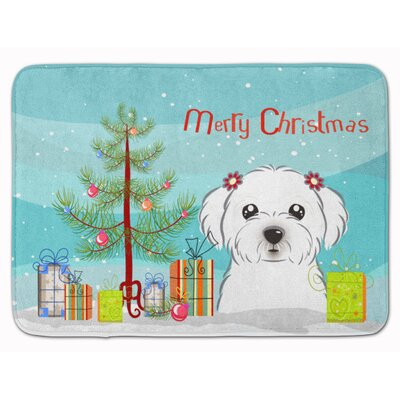 Christmas Tree and Maltese Memory Foam Bath Rug