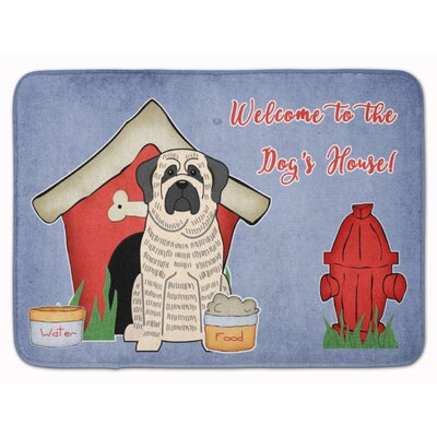 Dog House Mastiff Brindle Memory Foam Bath Rug Color: White