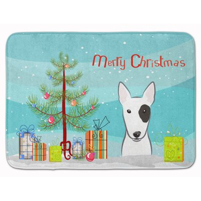 Christmas Tree and Bull Terrier Memory Foam Bath Rug