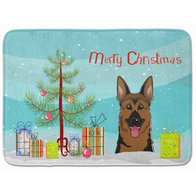 Christmas Tree and German Shepherd Memory Foam Bath Rug