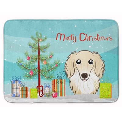 Christmas and Longhair Creme Dachshund Memory Foam Bath Rug