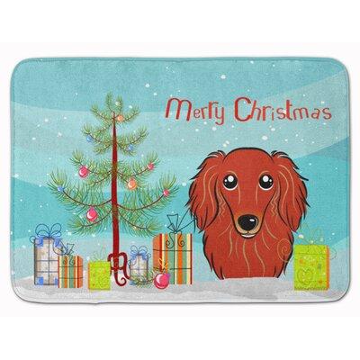 Christmas Tree Longhair Dachshund Memory Foam Bath Rug