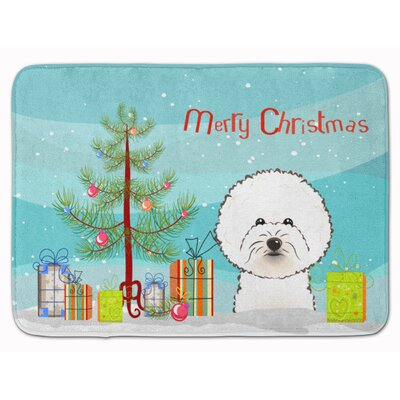 Christmas Tree and Bichon Frise Memory Foam Bath Rug