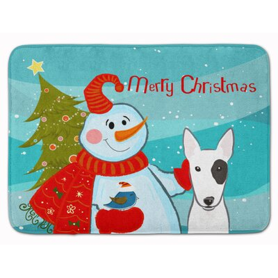 Snowman with Bull Terrier Memory Foam Bath Rug