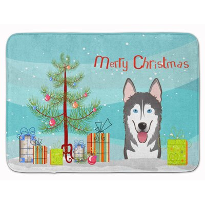 Christmas Tree and Alaskan Malamute Memory Foam Bath Rug
