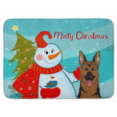 Snowman with German Shepherd Memory Foam Bath Rug