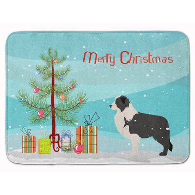 Border Collie Merry Christmas Tree Memory Foam Bath Rug Color: Black