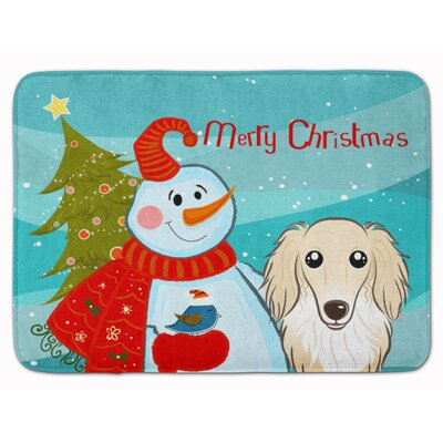 Snowman with Longhair Dachshund Memory Foam Bath Rug Color: Cream