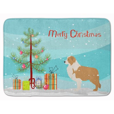 Border Collie Merry Christmas Tree Memory Foam Bath Rug Color: Brown