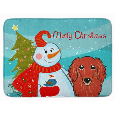 Snowman with Longhair Dachshund Memory Foam Bath Rug Color: Red