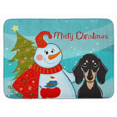 Snowman Smooth Dachshund Memory Foam Bath Rug