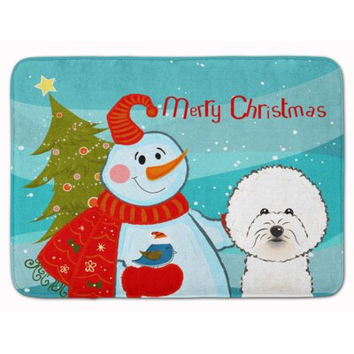 Snowman with Bichon Frise Memory Foam Bath Rug
