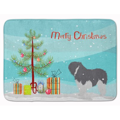 Polish Lowland Sheepdog Dog Christmas Memory Foam Bath Rug
