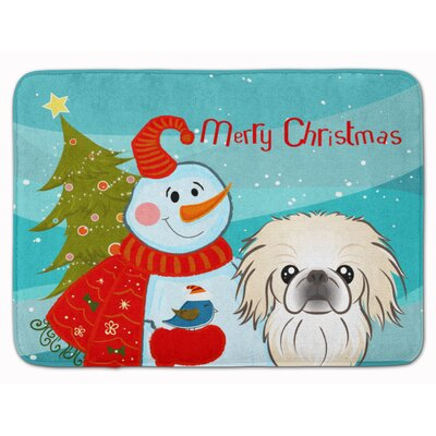 Snowman with Pekingese Memory Foam Bath Rug