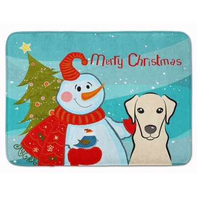 Snowman with Labrador Memory Foam Bath Rug