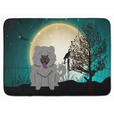 Halloween Scary Chow Chow Memory Foam Bath Rug Color: Blue