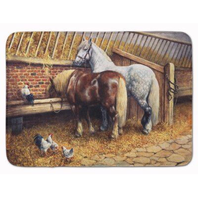 Horse Eating with the Chickens Memory Foam Bath Rug