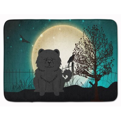 Halloween Scary Chow Chow Memory Foam Bath Rug Color: Black