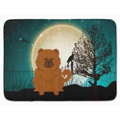 Halloween Scary Chow Chow Memory Foam Bath Rug Color: Red