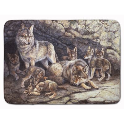 Wolves by the Den Memory Foam Bath Rug