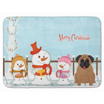 Merry Christmas Carolers Pug Memory Foam Bath Rug Color: Tan