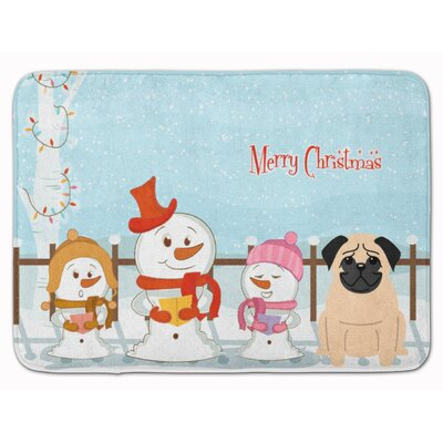 Merry Christmas Carolers Pug Memory Foam Bath Rug Color: Beige