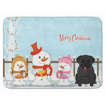 Merry Christmas Carolers Pug Memory Foam Bath Rug Color: Black