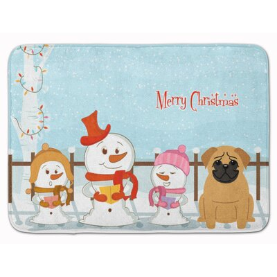 Merry Christmas Carolers Pug Memory Foam Bath Rug Color: Brown