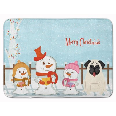 Merry Christmas Carolers Pug Memory Foam Bath Rug Color: Cream