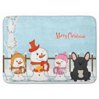 Merry Christmas French Bulldog Brindle Memory Foam Bath Rug Color: Black