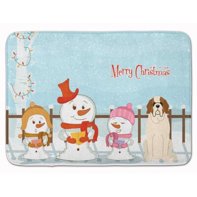 Merry Christmas Carolers Saint Bernard Memory Foam Bath Rug