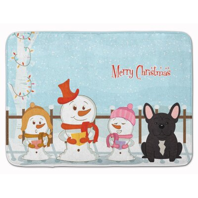 Merry Christmas French Bulldog Brindle Memory Foam Bath Rug Color: Brindle