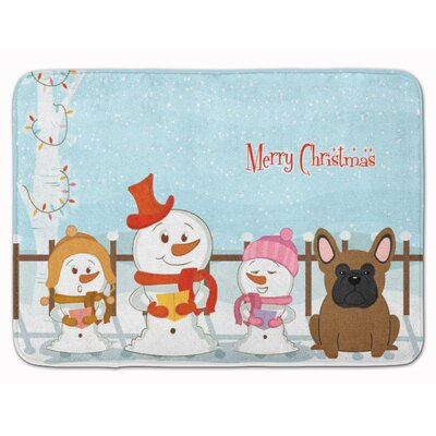 Merry Christmas French Bulldog Brindle Memory Foam Bath Rug Color: Brown