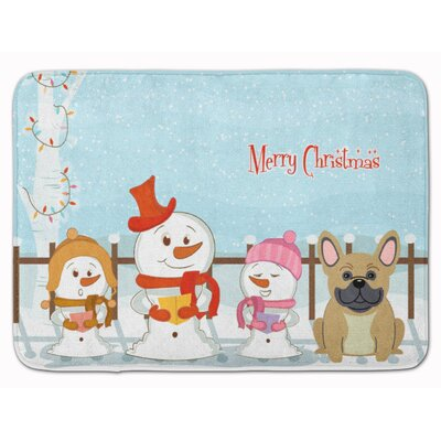 Merry Christmas French Bulldog Brindle Memory Foam Bath Rug Color: Cream