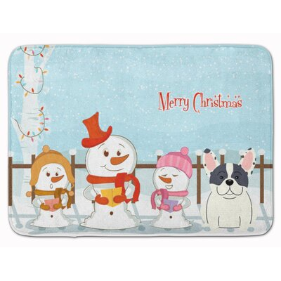 Merry Christmas French Bulldog Brindle Memory Foam Bath Rug Color: Piebald