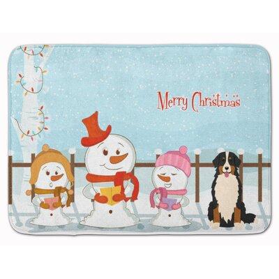 Merry Christmas Bernese Mountain Dog Memory Foam Bath Rug