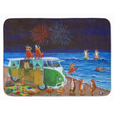 Corgi Beach Party Volkswagon Fireworks Memory Foam Bath Rug