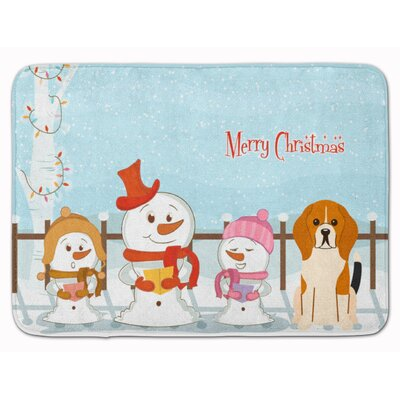 Merry Christmas Beagle Memory Foam Bath Rug