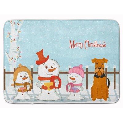 Merry Christmas Carolers Airedale Memory Foam Bath Rug