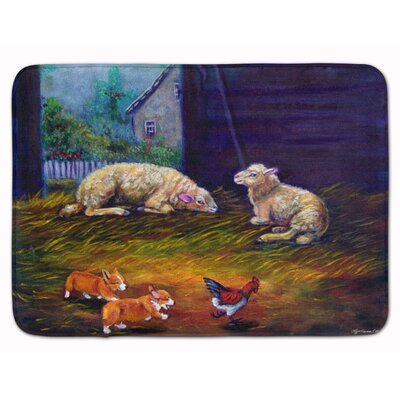 Corgi Chaos in the barn with sheep Memory Foam Bath Rug