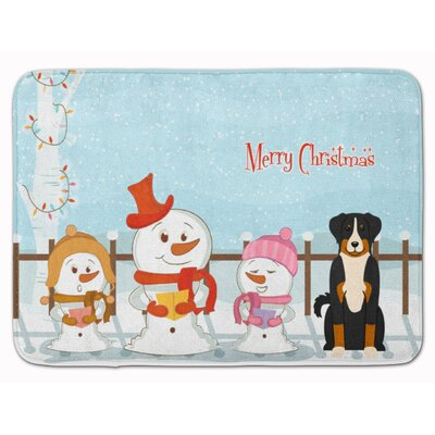 Merry Christmas Appenzeller Sennenhund Memory Foam Bath Rug