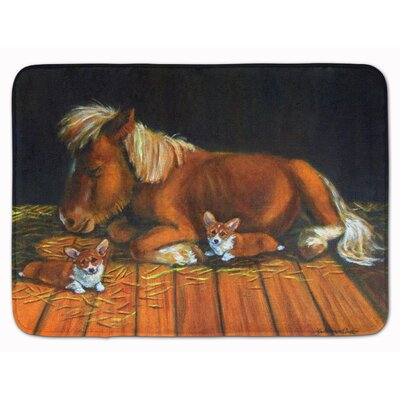 Corgi Snuggles the pony Memory Foam Bath Rug