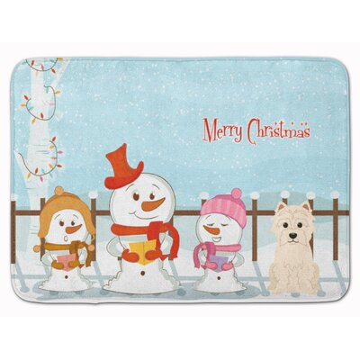 Merry Christmas Carolers Westie Memory Foam Bath Rug
