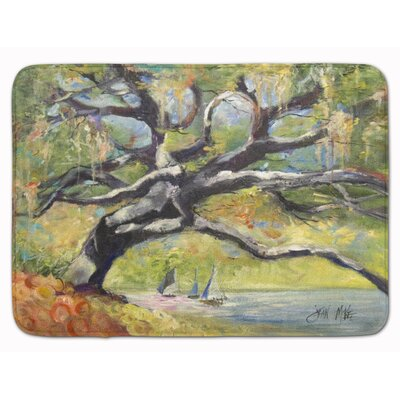 Oak Tree on the Bay with Sailboats Memory Foam Bath Rug