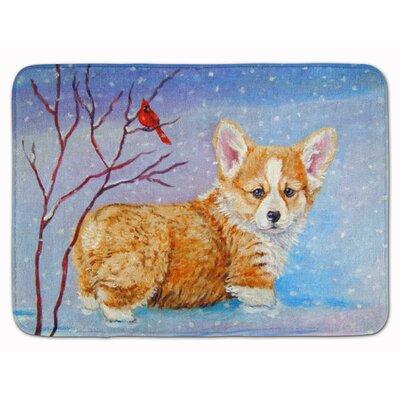 Corgi Pup Snow Cardinal Memory Foam Bath Rug