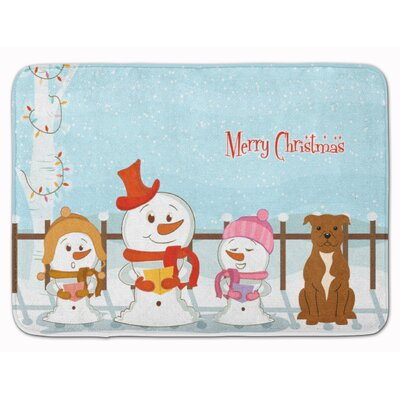 Christmas Staffordshire Bull Terrier Memory Foam Bath Rug Color: Brown