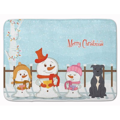 Christmas Staffordshire Bull Terrier Memory Foam Bath Rug Color: Gray/Silver