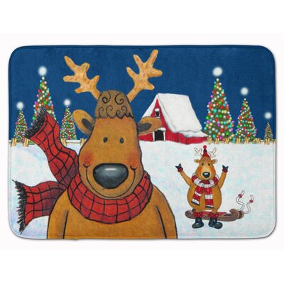 The Tree Famers Reindeer Christmas Memory Foam Bath Rug