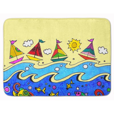 Summer Sail Away Sailboats Memory Foam Bath Rug
