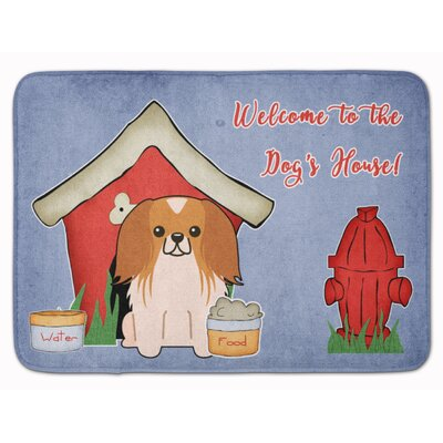 Dog House Pekingese Memory Foam Bath Rug Color: Red/White